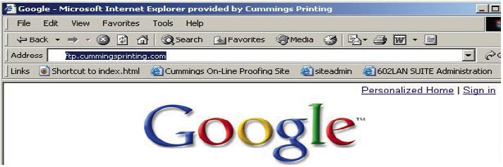 Using FTP to Transfer Files - Cummings Printing